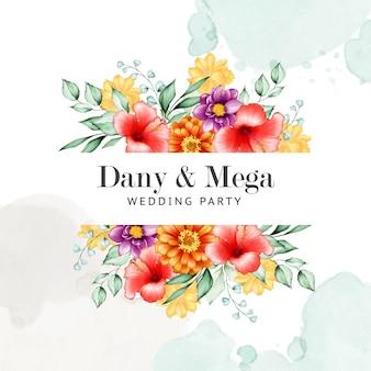Elegante marco floral con flores de acuarela.