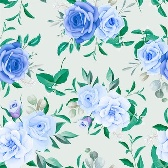 Elegante marco floral de patrones sin fisuras flor azul
