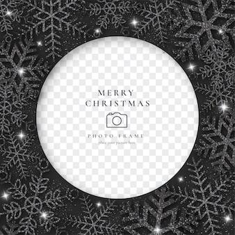 Elegante marco de fotos de navidad con copos de nieve negros