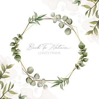 Elegante marco de hojas para invitación de boda