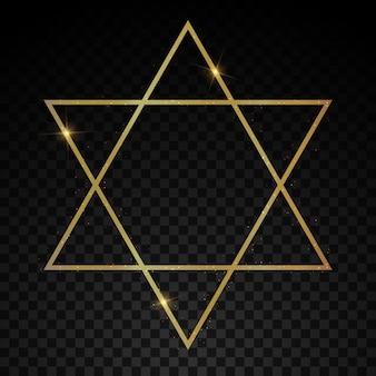 Elegante marco de lujo dorado geométrico realista con efectos de luz estilo art deco.