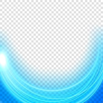 Elegante marco de luz azul, luz de neón ondulada, aislado