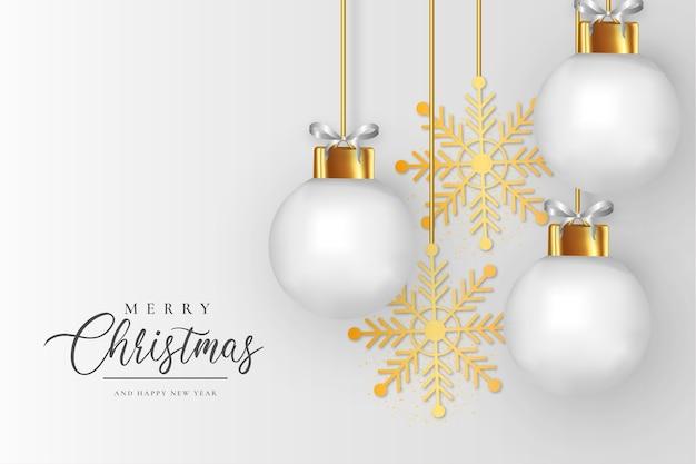 Elegante marco de navidad con fondo de bolas de navidad blancas realistas