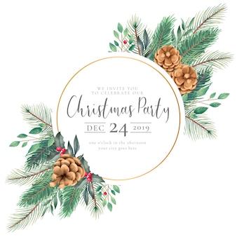 Elegante marco de navidad con invitación de naturaleza acuarela