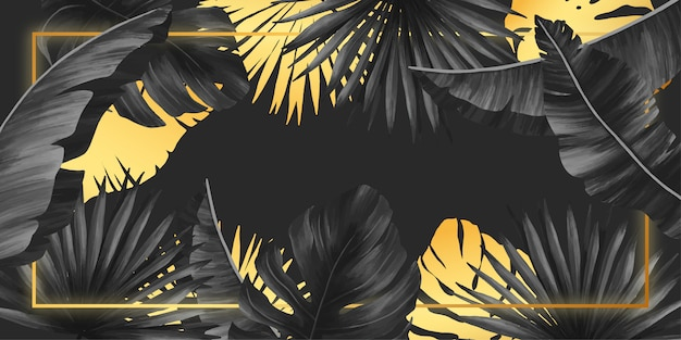 Elegante marco negro y dorado con hojas tropicales.