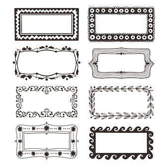Elegante marco ornamental dibujado a mano colección