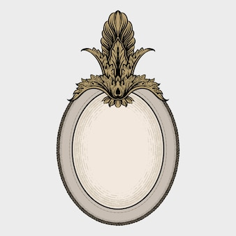 Elegante marco ovalado con decoración vintage.