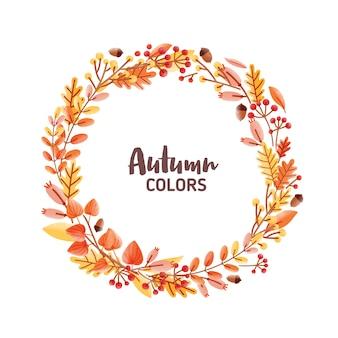 Elegante marco redondo, guirnalda, corona o borde hecho de coloridas hojas de roble caído, bellotas y bayas e inscripción de colores otoñales en el interior.