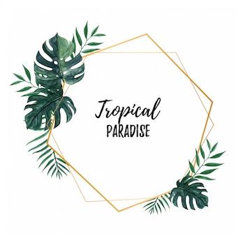 Elegante marco tropical con hojas de monstera