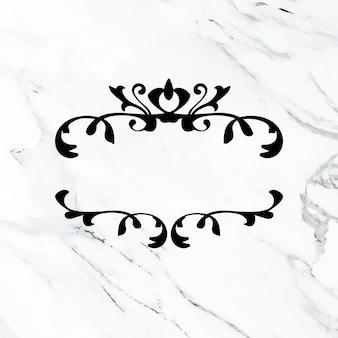 Elegante marco de vector de adorno de broche de oro negro