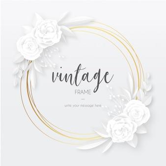 Elegante marco vintage con flores blancas de papercut