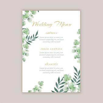Elegante menú de bodas con diseño floral pintado a mano.