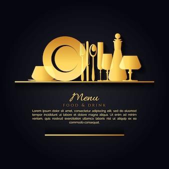 Elegante menú de fondo negro con una cocina de oro herramientas