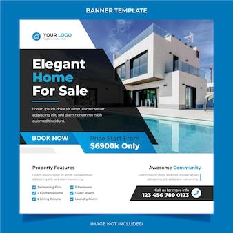 Elegante y moderna casa de ensueño en alquiler venta campaña de bienes raíces plantilla de publicación de instagram de redes sociales