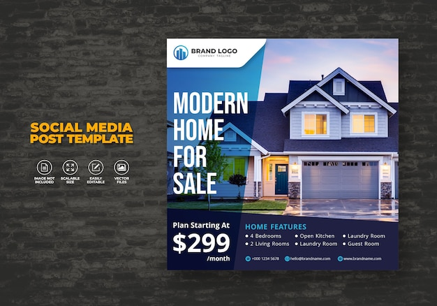 Elegante moderno dream home campaña inmobiliaria modelo de post de redes sociales