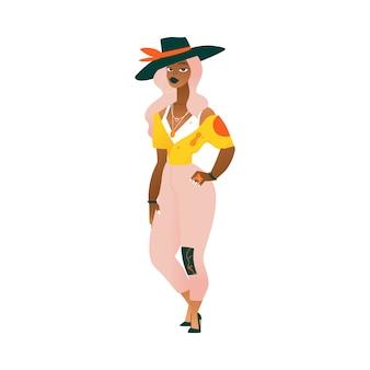 Una elegante mujer afroamericana negra o niña con sombrero grande con cabello ondulado rosa está de pie.