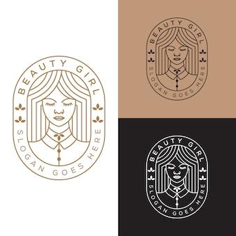 Elegante mujer de belleza, plantilla de vector de diseño de logotipo de línea chica arte