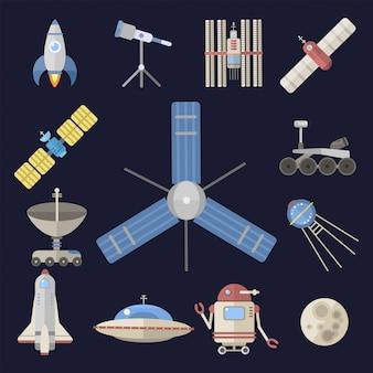 Elegante nave espacial constelación astrología radar cosmos universo tecnología meteorología lanzadera astronauta cohete satélite.