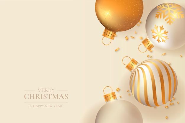 Elegante navidad con bolas doradas