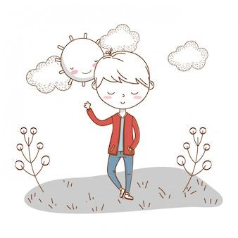 Elegante niño de dibujos animados traje naturaleza nubes