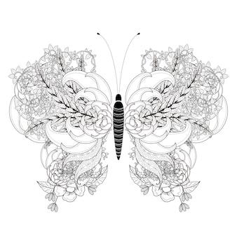 Elegante página para colorear de mariposas en un estilo exquisito