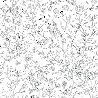 Elegante página para colorear de patrones florales sin fisuras en un estilo exquisito
