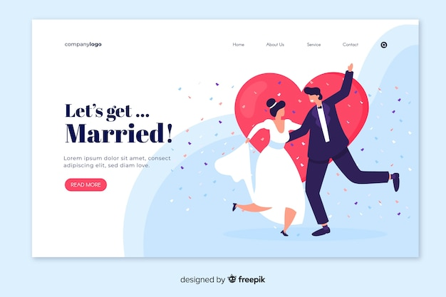 Elegante página de inicio de boda con personajes