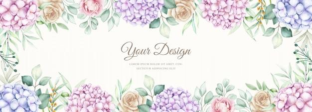 Elegante pancarta con flores de hortensias acuarelas