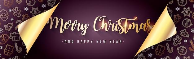 Elegante pancarta navideña con papel de regalo abierto