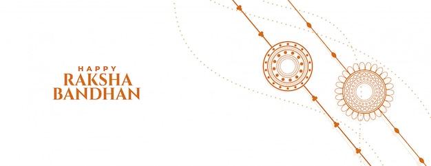 Elegante pancarta raksha bandhan blanca con dos rakhi