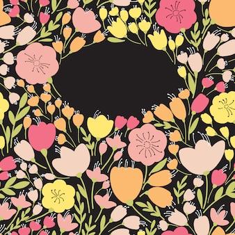 Elegante pancarta transparente con flores amarillas y rosadas, ilustración