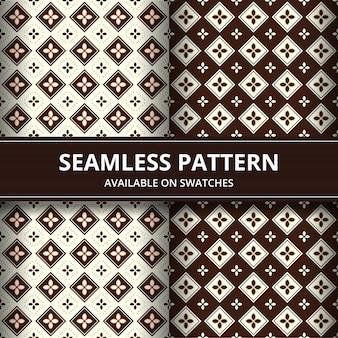 Elegante papel tapiz de fondo de batik de indonesia tradicional de patrones sin fisuras en conjunto de estilo clásico marrón