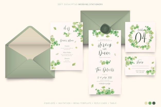Elegante papelería de boda con hojas de eucalipto