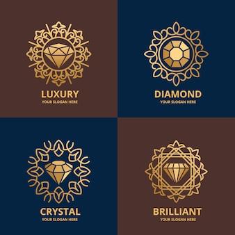 Elegante paquete de logotipos de diamantes