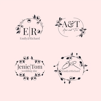 Elegante paquete de monogramas de boda