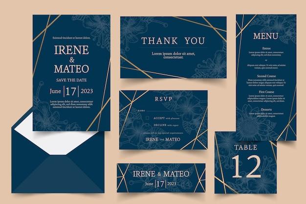 Elegante paquete de papelería de boda