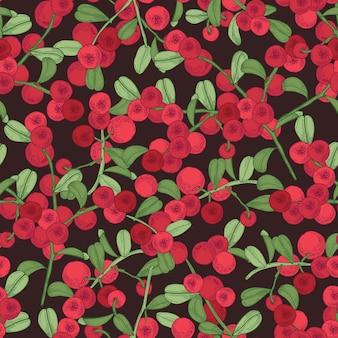 Elegante patrón sin costuras con arándano rojo ártico en el espacio oscuro