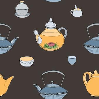 Elegante patrón sin costuras con atributos de la ceremonia del té japonesa tradicional dibujada a mano