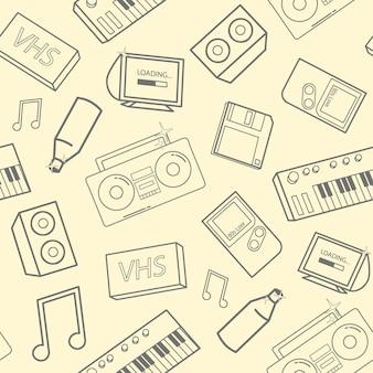 Elegante patrón sin costuras con atributos de la vieja escuela, dispositivos electrónicos e instrumentos musicales sobre fondo amarillo. volver al concepto de los 90. ilustración de vector de fondo de pantalla, telón de fondo del sitio web.