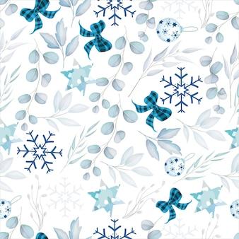 Elegante patrón sin costuras feliz navidad con adorno de navidad blanco
