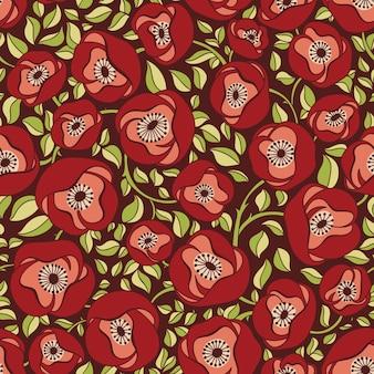 Elegante patrón sin costuras con flores, ilustración