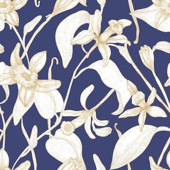 Elegante patrón sin costuras con flores de vainilla en flor dibujadas a mano con líneas de contorno sobre fondo azul.