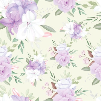 Elegante patrón sin costuras con hermosas flores y hojas blancas y púrpuras