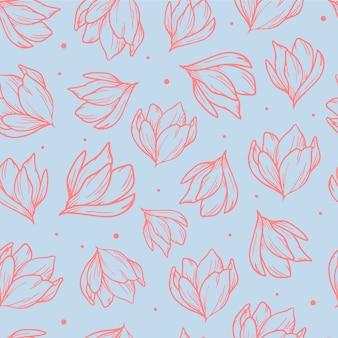 Elegante patrón sin costuras con magnolias dibujadas a mano.