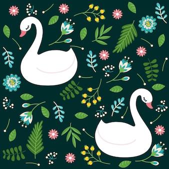 Elegante patrón de estilo cisne