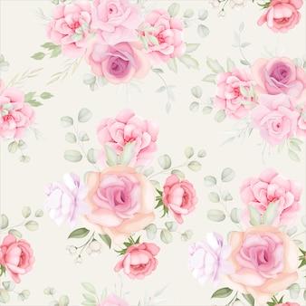 Elegante patrón floral transparente con decoración de flores suaves