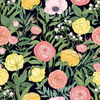 Elegante patrón floral transparente con flores silvestres florecientes y hierbas de floración de pradera sobre fondo negro.