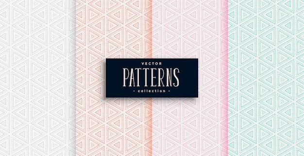 Elegante patrón de formas triangulares en cuatro colores.