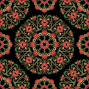 Elegante patrón oscuro con mandalas de flores.
