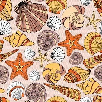 Elegante patrón transparente con conchas marinas, ilustración